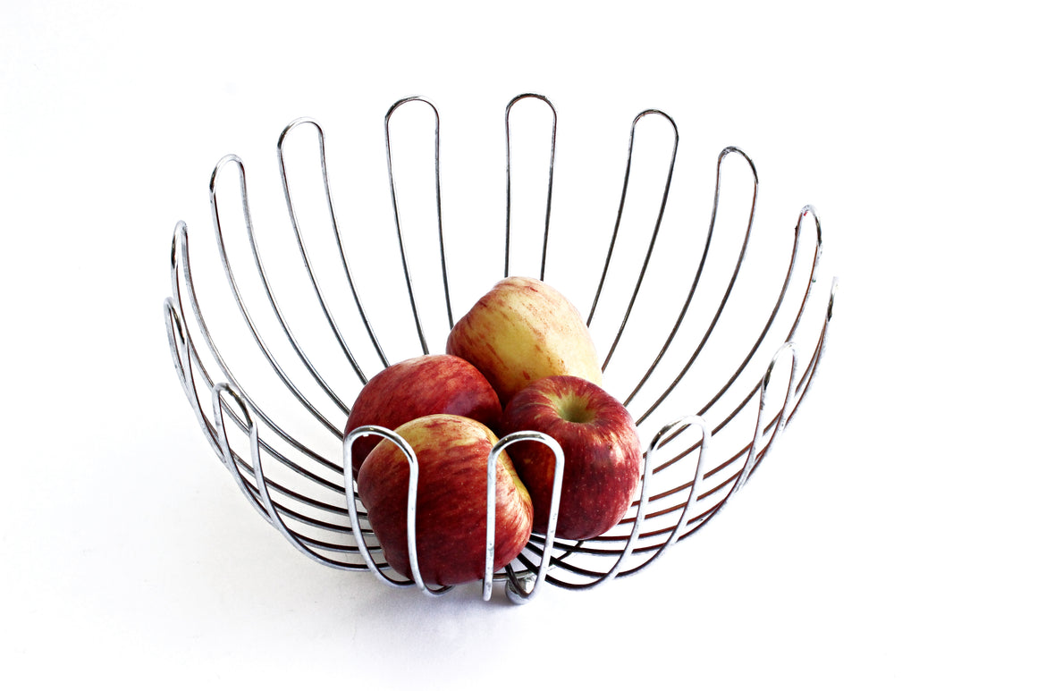 Mid Century Modern Fruit Bowl, Metal Kitchen Bowl