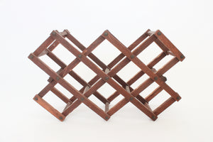 1950s mid-century wooden folding wine rack