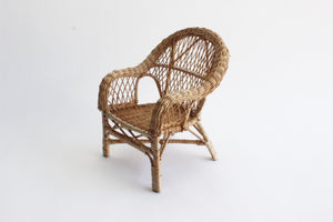 Miniature Wicker Chair, Woven Plant Stand, Doll Furniture