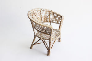 Small Woven Wicker Chair, Plant Stand, Vintage Doll Furniture