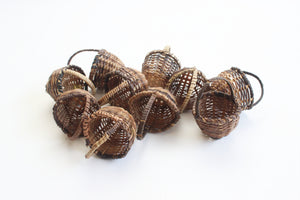 Set of 8 - Miniature Woven Baskets, Small Craft Baskets, Party Favors, Wedding Favors