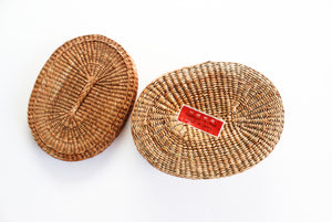 Small Woven Basket with Lid, Vintage Boho Decor