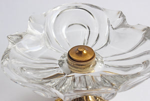 Vintage Glass Ashtray with Pedestal Base, Hollywood Regency Style Ashtray