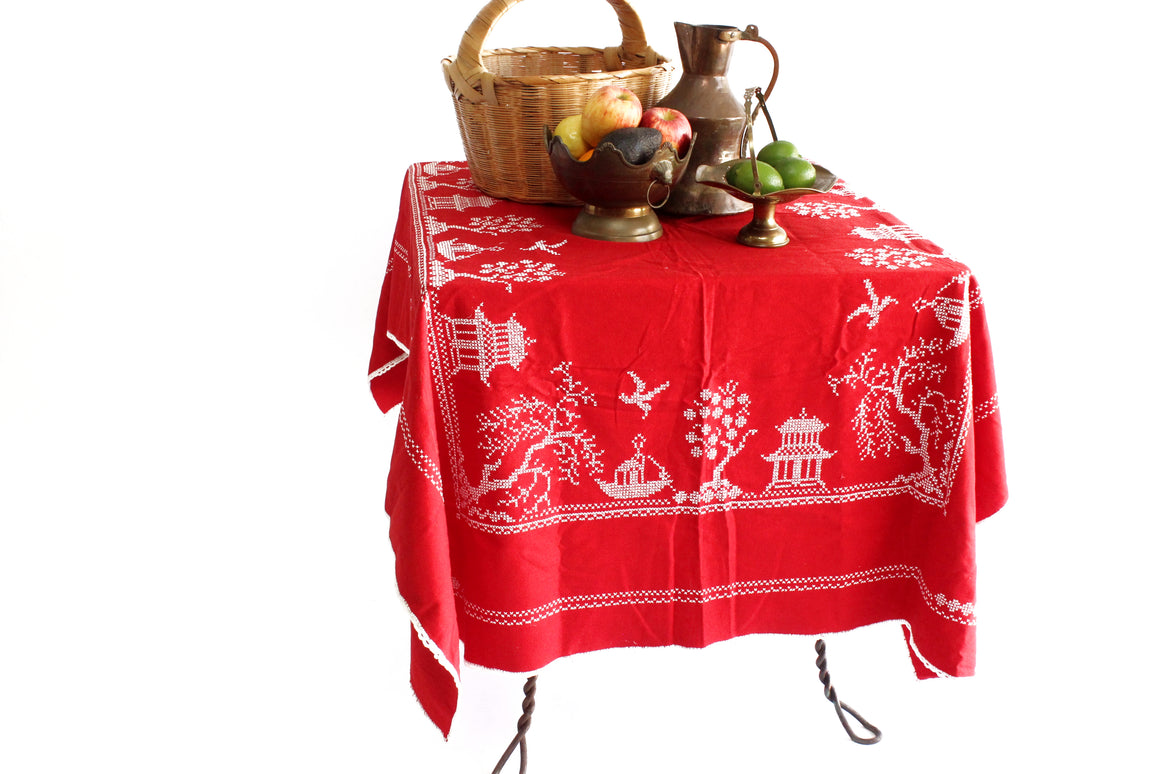 Vintage Red Chinese Tablecloth, Hand Embroidered Tablecloth