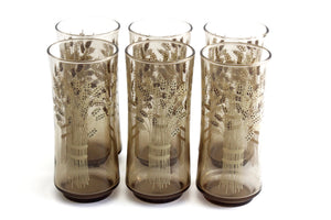 Vintage Water Glasses, 1960's Tall Glass Tumblers With Wheat Pattern
