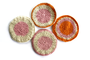 Set of 4 Vintage Trivets, Hand Knit Hot Pads