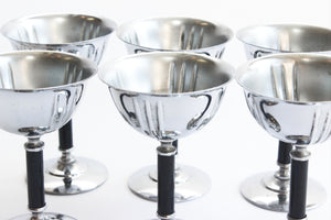 Silver Plated Stemmed Goblets, Mid Century Barware