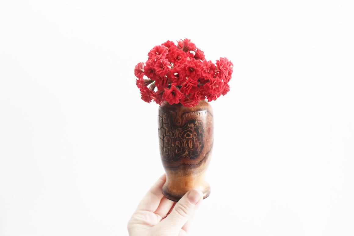 Carved Wood Bud Vase, Natural Rustic Decor