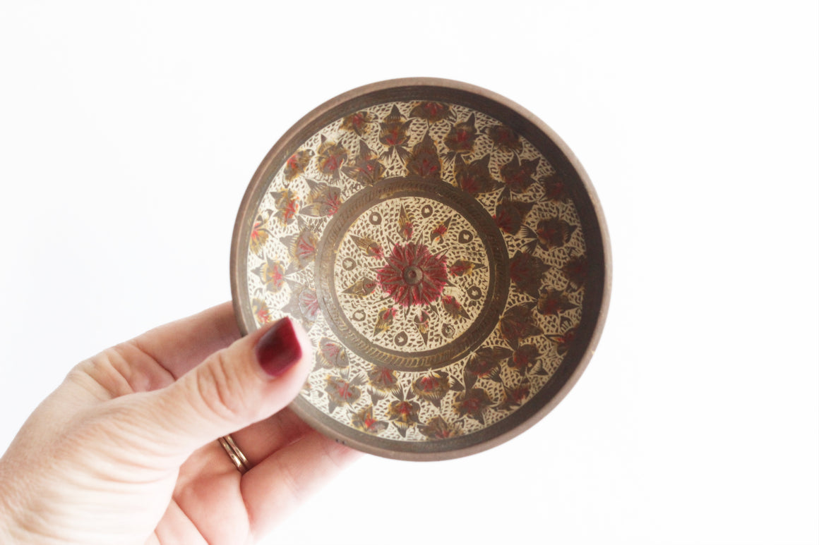 Hand painted Brass Bowl, Ring Dish, Jewelry Holder