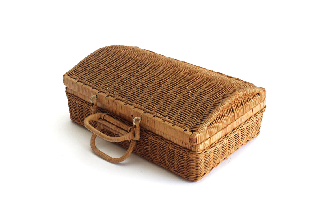 Vintage Wicker Storage Basket, Small Basket Trunk Case