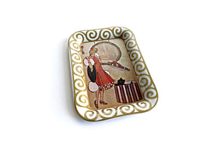 Small Decorative Jewelry Tray, 1920's Lithograph Art