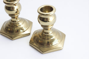 Pair of 2 Vintage Brass Candlestick Holders