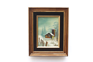 vintage art framed painting winter landscape