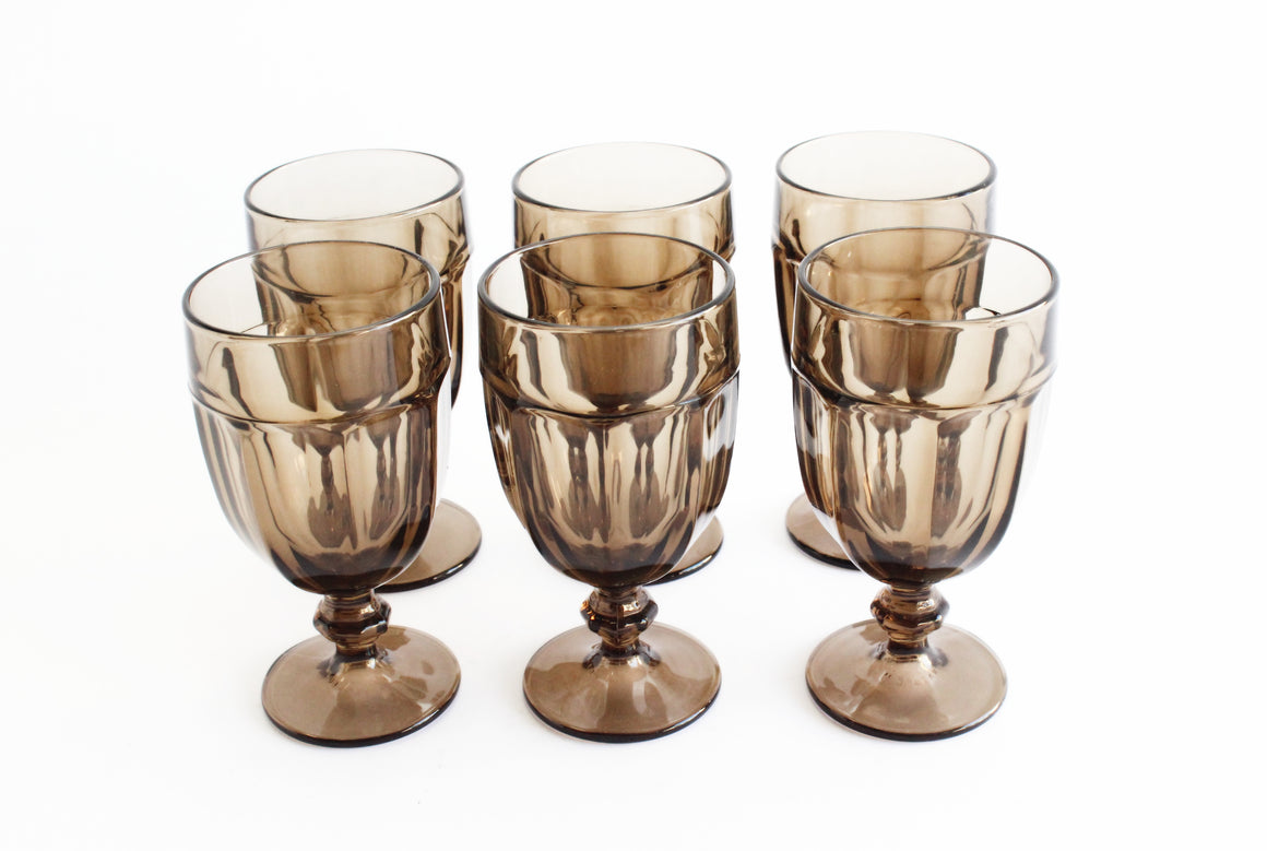 Smokey Brown Vintage Water Goblets, Set of 6 Large Iced Tea Glasses