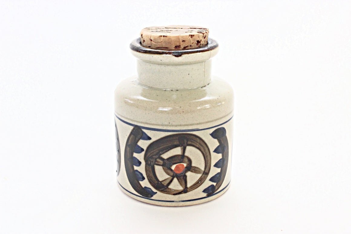 Vintage Stoneware Spice Jar, Kitchen Spice Container, Boho Home Decor