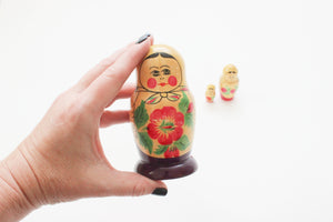 Vintage Russian Nesting Dolls, Wooden Stacking Dolls, Matryoshka Dolls