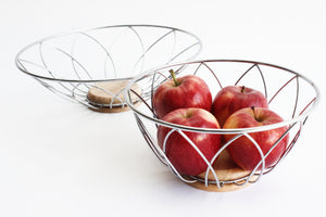 Stainless Steel Wire Bowls, Set of 2 1980s Kitchen Bowls