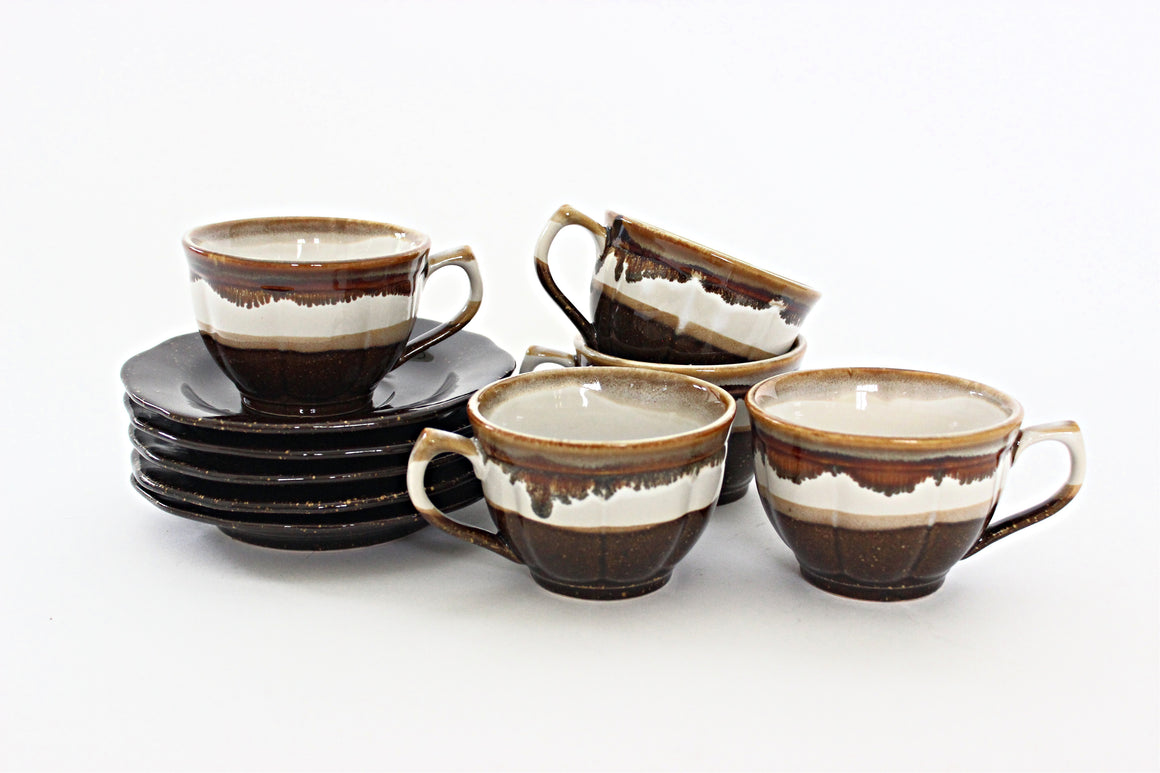 Set of 5 - Stoneware Teacups & Saucers, Coffee/Tea Mugs