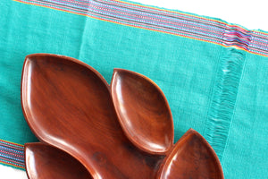 Turquoise Table Runner, Vintage Handmade Table Linen, Sustainable Textiles