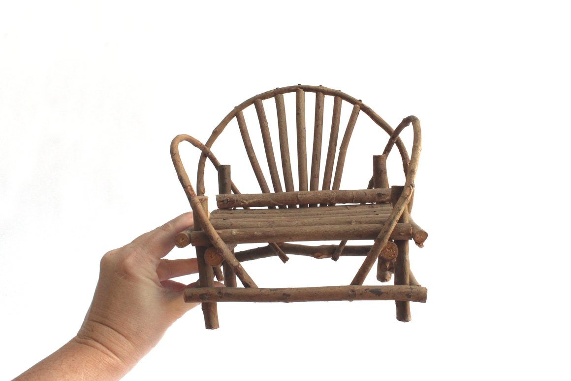 Small Wooden Bench Garden Decor, Vintage Plant Stand, Rustic Doll Furniture
