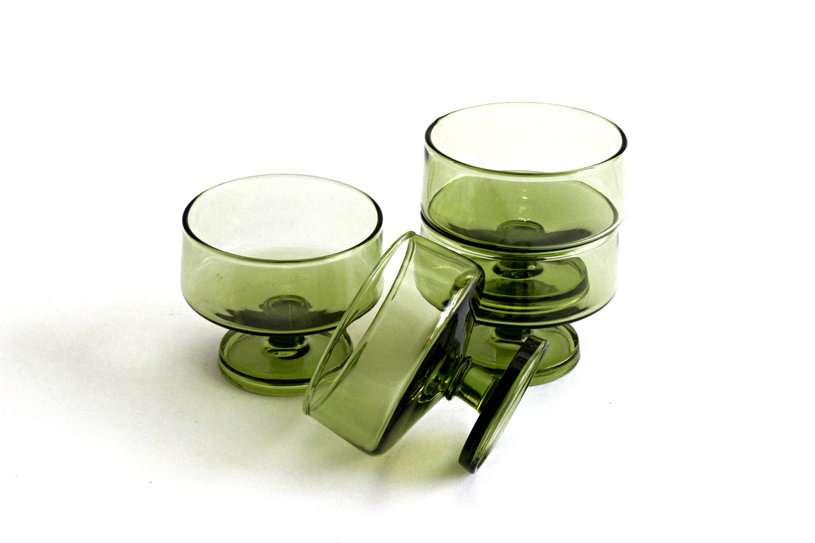 Set of 4 1970's Green Glass Dessert Bowls, Small Round Pedestal Dishes