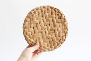 Woven Tortilla Basket, Round Flat Basket with Lid