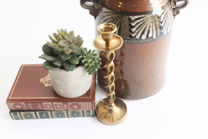 Twisted Candlestick Holder, Tall Mid Century Candlestick Holder