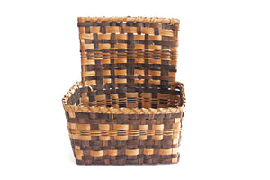 1970's Woven Bamboo Storage Basket, Entry Table Organization Basket, Hanging Basket Planter
