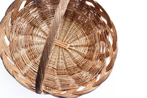 Vintage Mexican Basket, Woven Willow Basket, Kitchen Basket with Handle