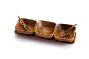 Vintage Monkey Pod Condiment Serving Dish, Wood Sauce Bowls