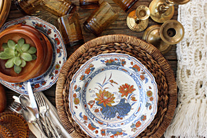 Set of 7 Chinese Transferware Plates, Blue & Orange Vintage Dinner Plates