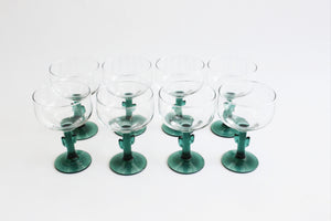 Cactus Stem Margherita Glasses, Set of 8 Vintage Cocktail Glasses