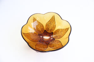 Amber Glass Bowl, Small Vintage Serving Bowl