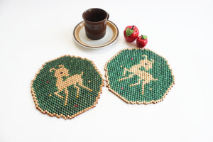 Beaded Hot Pads, Vintage Hot Plates, Christmas Decor