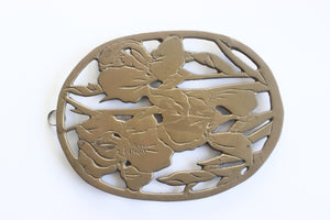 Brass Trivet, Vintage Hot Plate, Mid Century Kitchen Decor