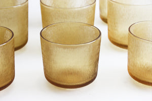 Yellow Drinking Glasses, Amber Glass Water Tumblers, Vintage Glassware