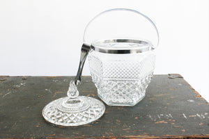 Mid Century Glass Ice Bucket, Vintage Glass Ice Container