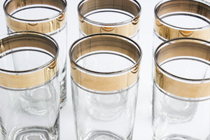Gold Trim High Ball Glasses, Water Tumblers, Vintage Glassware
