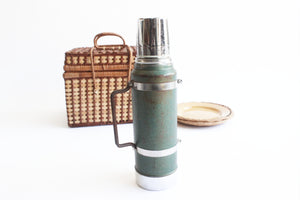 Green Metal Aladdin Stanley Thermos, Vintage Camping Gear