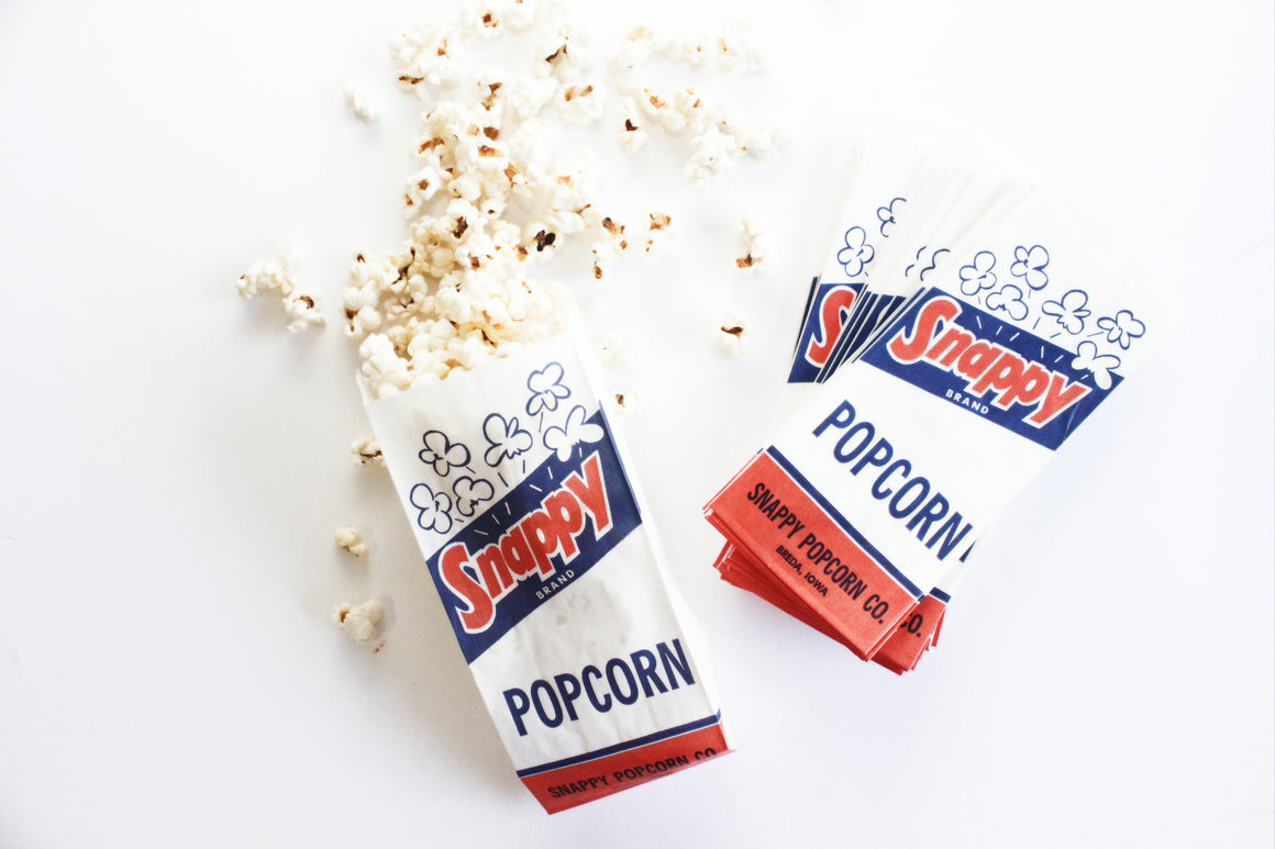Set of 12 Vintage Snappy Brand Popcorn Bags, Party Favor Bags, Craft Supply