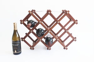 Mid Century Wooden Wine Rack, Vintage Folding Wine Bottle Storage