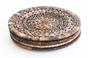 Natural Woven Plate Chargers, 1970s Natural Fiber Placemats