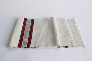 Vintage Linen Table Runner, 1970's Hand Stitched Table Runner
