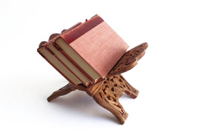 Folding Wood Book Stand, Book Display Shelf