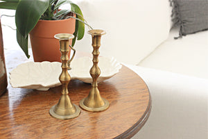 Vintage Brass Candlestick Holders, Set of 2 Taper Candle Holders