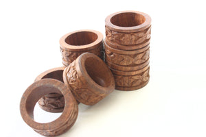 Vintage Wood Napkin Rings, Set of 8 Hand Carved Napkin Rings