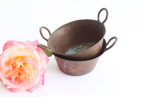 Vintage Hammered Copper Cups, Miniature Buckets, Small Rustic Containers