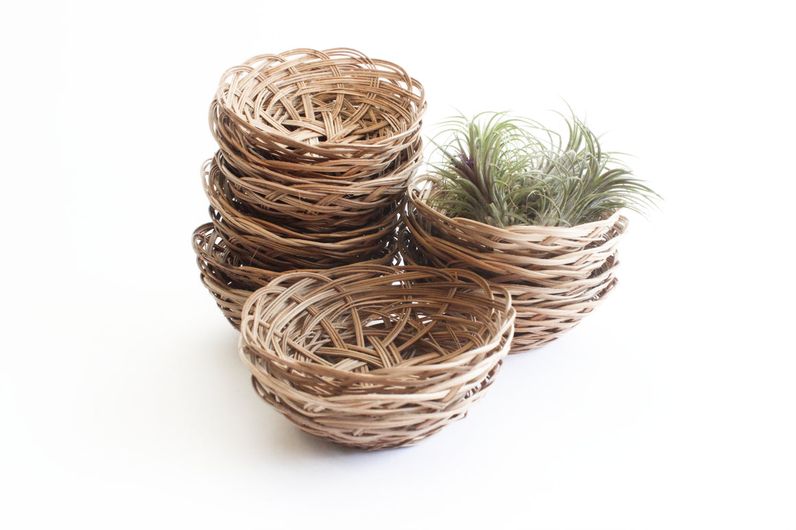 Set of 5 - Small Vintage Wicker Baskets, Round Woven Trinket Baskets