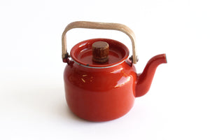 Vintage Enamel Orange Teapot, Mid Century Kitchenware