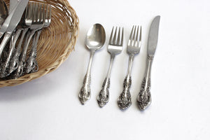 Vintage Silver Plated Flatware, Silverware Place Setting for Four